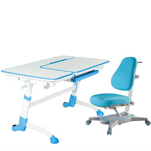 AMARE BLUE + PRIMAVERA I BLUE - Regulowane biurko z krzesełkiem