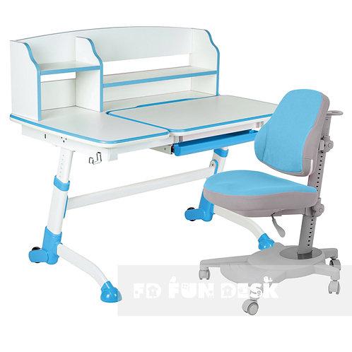 Amare II Blue + Agosto Blue - Regulowane biurko z krzesełkiem