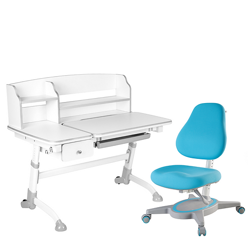 AMARE II GREY with Drawer + PRIMAVERA I BLUE - Regulowane biurko z krzesełkiem