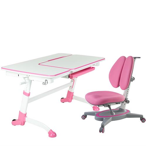 AMARE PINK + PRIMAVERA II PINK - Regulowane biurko z krzesełkiem