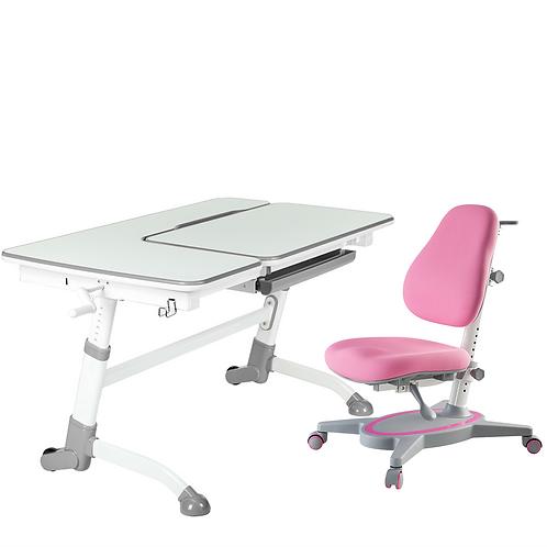 AMARE GREY + PRIMAVERA I PINK - Regulowane biurko z krzesełkiem