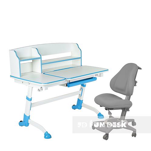 AMARE II BLUE + BRAVO GREY - Regulowane biurko z krzesełkiem