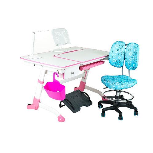Amare Pink with Drawer + SST6 Blue Regulowane biurko z krzesełkiem