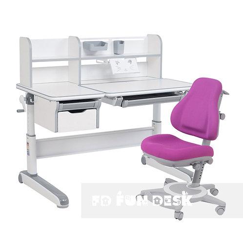 Libro Grey + Bravo Purple - Regulowany zestaw biurko z krzesełkiem