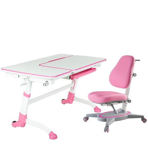 AMARE PINK + PRIMAVERA I PINK - Regulowane biurko z krzesełkiem