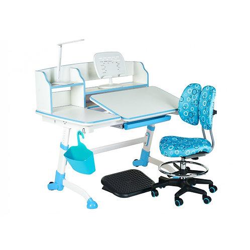 Amare II Blue + SST6 Blue - Regulowane biurko z krzesełkiem