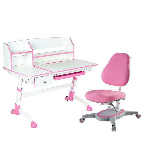 AMARE II PINK with Drawer + PRIMAVERA I PINK - Regulowane biurko z krzesełkiem