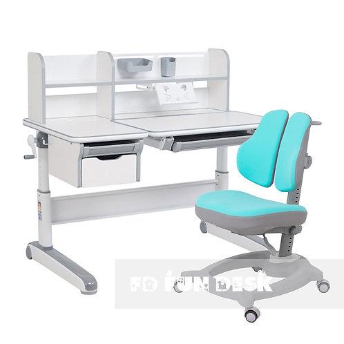 Libro Grey + Diverso Mint - Regulowany zestaw biurko z krzesełkiem