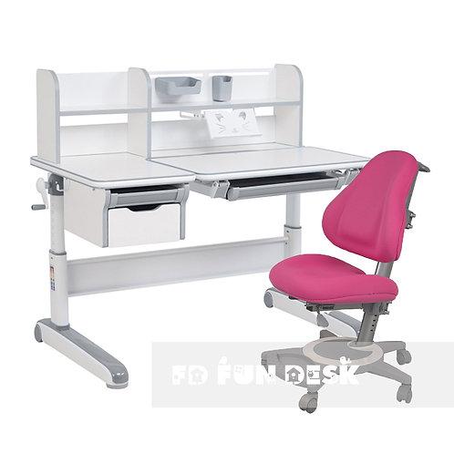 Libro Grey + Bravo Pink - Regulowany zestaw biurko z krzesełkiem