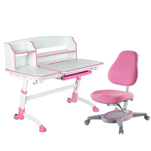 AMARE II PINK + PRIMAVERA I PINK - Regulowane biurko z krzesełkiem
