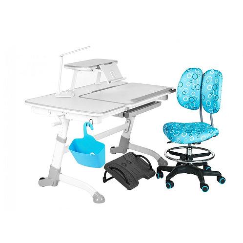 Amare Grey + SST6 Blue - Regulowane biurko z krzesełkiem