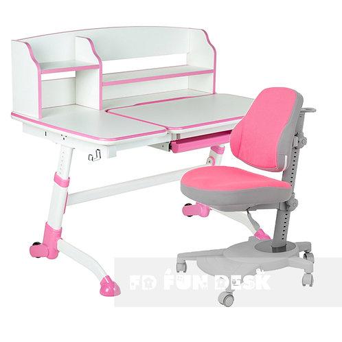 Amare II Pink + Agosto Pink - Regulowane biurko z krzesełkiem