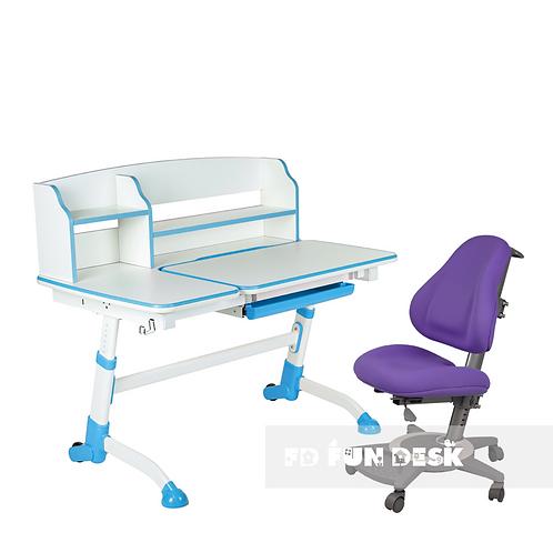 AMARE II BLUE + BRAVO PURPLE  - Regulowane biurko z krzesełkiem