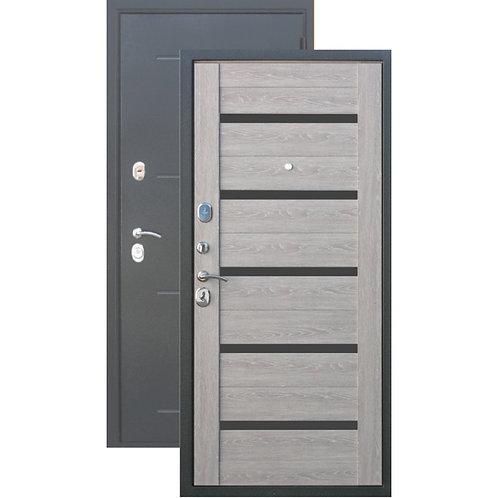 Металлическая сейф дверь 10 см Троя антик серебро (дымчатый дуб)