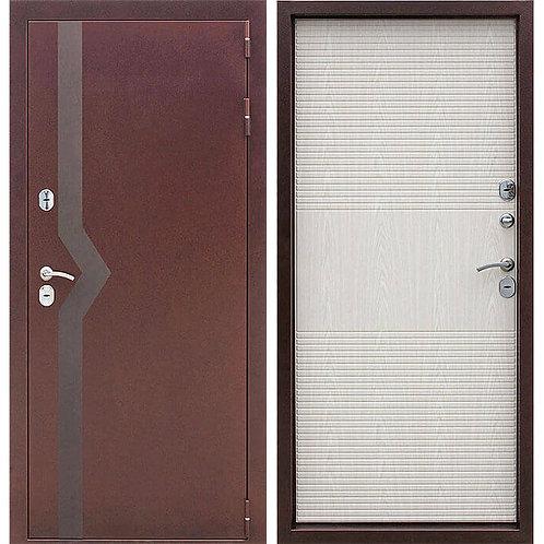 Металлическая сейф дверь ISOTERMA 10 см медный антик беленый дуб