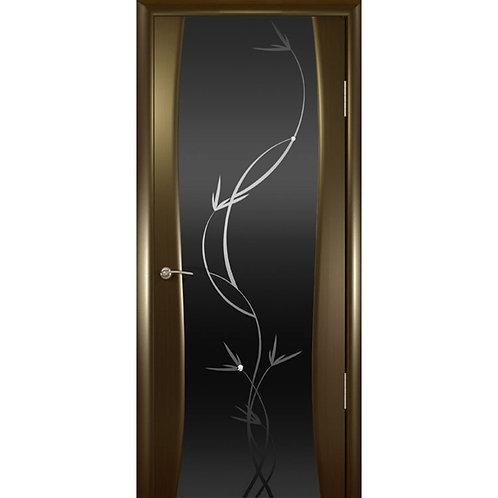 Межкомнатная дверь Буревестник 2 ДО черное растение