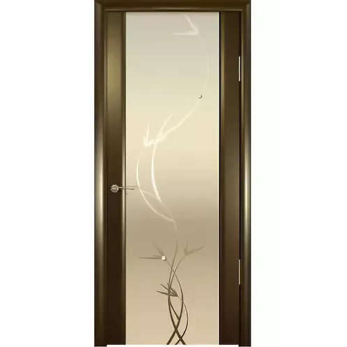 Межкомнатная дверь Шторм 3 ДО белое растение