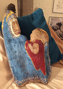 Madonna and Child on Driftwood