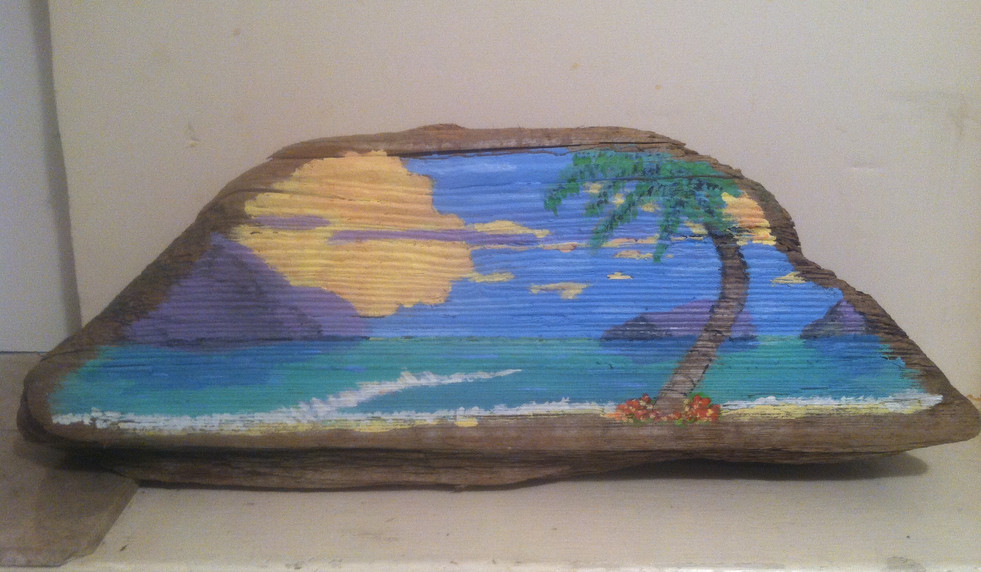 Tropical scene on Driftwood
