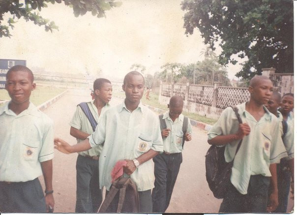 My friends and I returning from school in March 2004