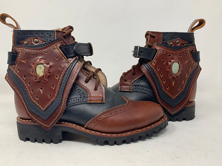 Women's size 8 Boots Black and Brown w/ coffee bean jasper Hand Made f