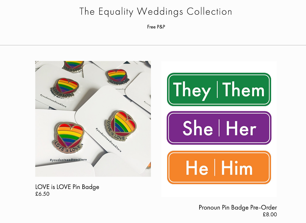Check out the LGBTQ Equality Weddings shop for these fab badges and more!