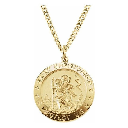 Round St. Christopher Medal Necklace in Sterling Silver and Gold
