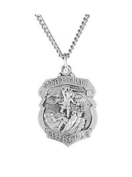 St. Michael Badge Medal Necklace in Sterling Silver