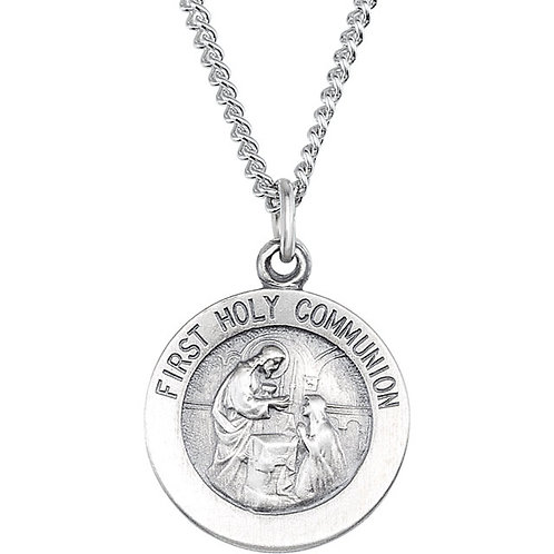 Round First Communion Medal Necklace in Sterling Silver