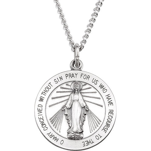 Round Miraculous Medal Necklace in Sterling Silver Necklace (Multiple Sizes).