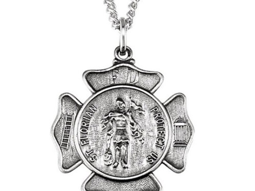 St Florian Firefighter Badge Medal Necklace in Sterling Silver