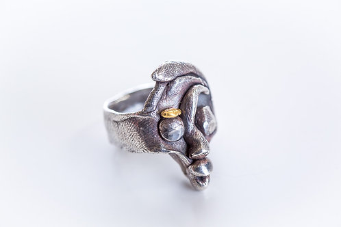 Ring Face Black silver, Gold nugget