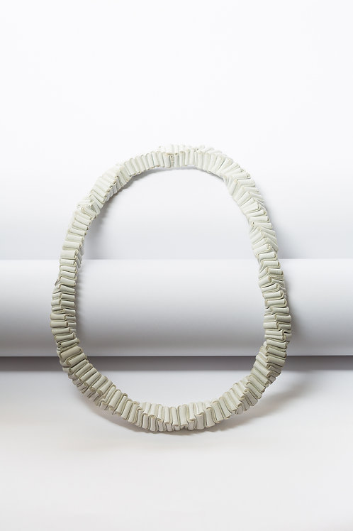 Necklace white folded leather