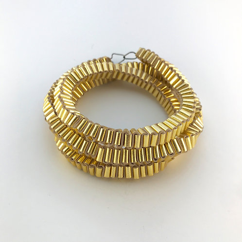 Gold Necklace Folded Leather oxidised silver clasp