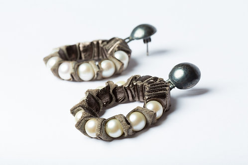 Earrings, Pearls, Leather and oxidised silver