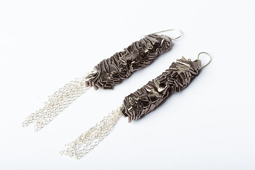 Earrings Puter Leather with silver findings