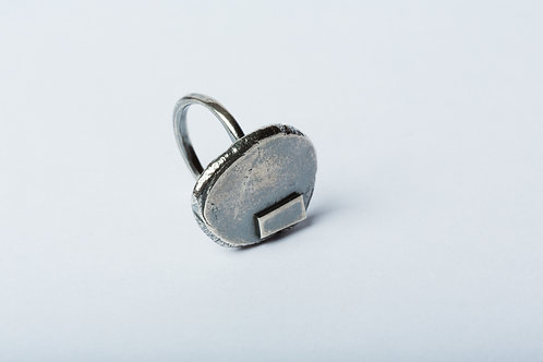 Patched Oxidised Silver Ring
