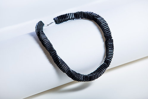 Necklace Short Folded Black Leather with a Silver clasp