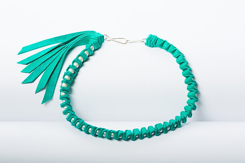 Turquoise Folded Leather Pearl Necklace