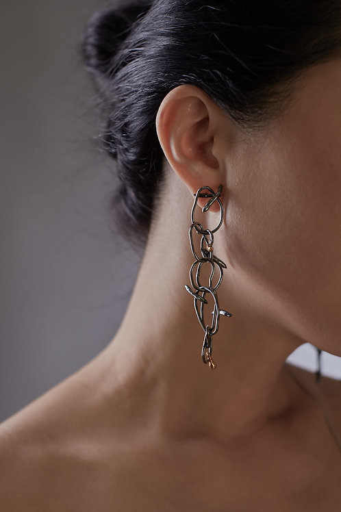 Earrings, pure local gold and black silver.
