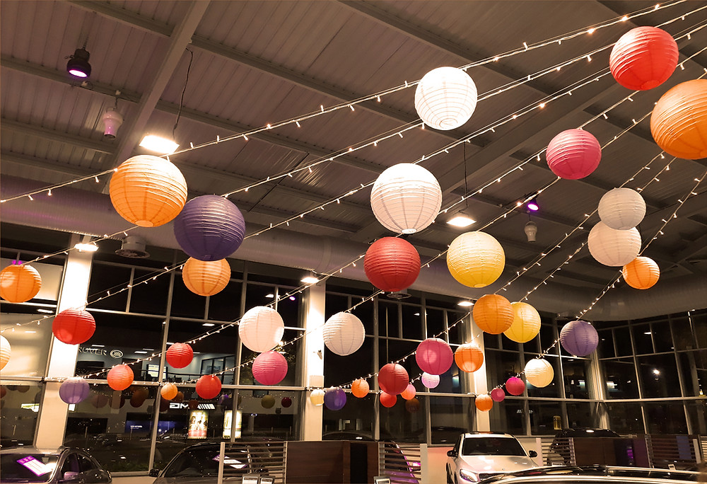 hanging lanterns and pealight canopy for a new car showrooom dealership for mercedes benz