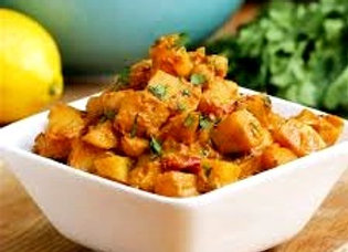 POTATO AND COCONUT CURRY WITH SAMBAL AND MINT CHUTNEY
