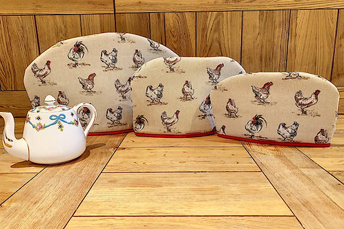 Tea Cosies, Red Chickens P068