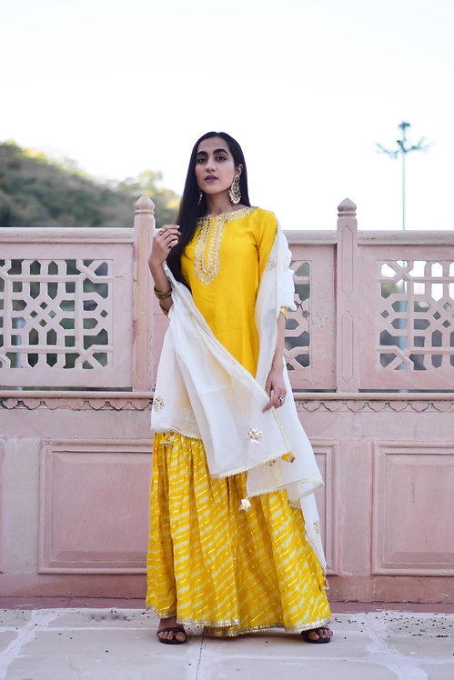 Yellow mirror work kurta sharara