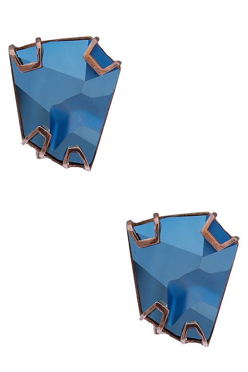 EARSTUDS MADE IN METALLIC BLUE SWAROVSKI CRYSTAL AND BRASS IN ROSE METAL FINISH