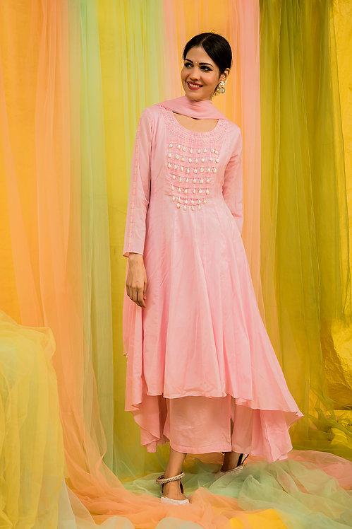 Pink anarkali kurta & palazzo