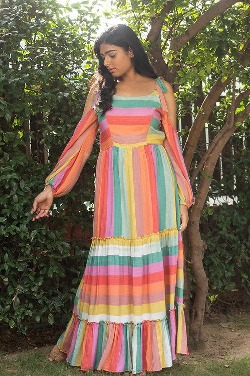 Rainbowoffshoulder dress