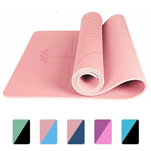 Exercise Mat for Yoga, Pilates and Fitness, Non Slip and with Alignment Lines -