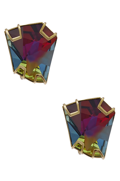 EARSTUDS MADE IN MULTI COLOR VOLCANO SWAROVSKI CRYSTAL AND BRASS IN YELLOW GOLD