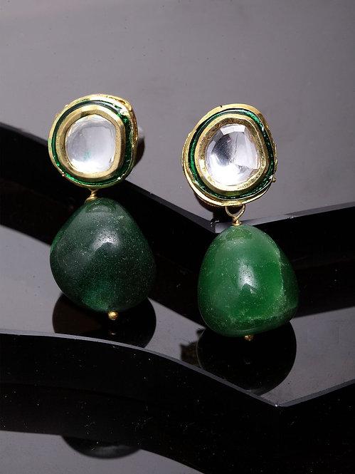kundan green stud earring